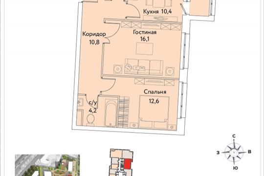 2-комнатная квартира, 58.1 м<sup>2</sup>, 27 этаж