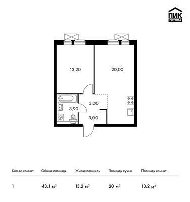 1-комн квартира, 43.1 м<sup>2</sup>, 12 этаж_1