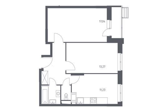 2-комнатная квартира, 54.35 м<sup>2</sup>, 4 этаж
