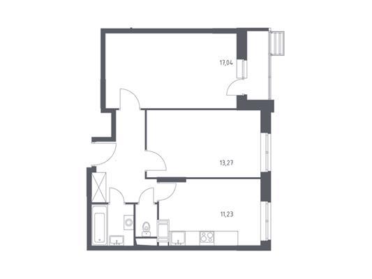 2-комн квартира, 54.35 м<sup>2</sup>, 4 этаж_1