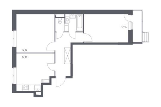 2-комнатная квартира, 51.36 м<sup>2</sup>, 9 этаж