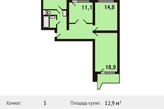 2-комнатная квартира, 57.8 м<sup>2</sup>, 17 этаж