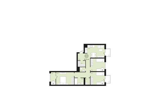 3-комнатная квартира, 82.9 м<sup>2</sup>, 9 этаж