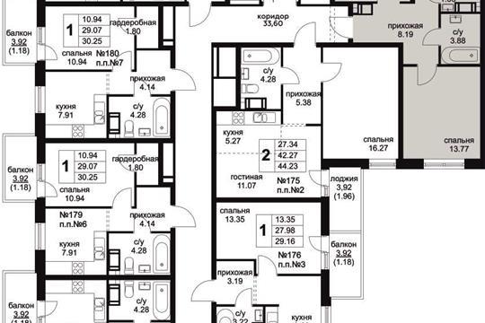 3-комнатная квартира, 57.34 м<sup>2</sup>, 7 этаж