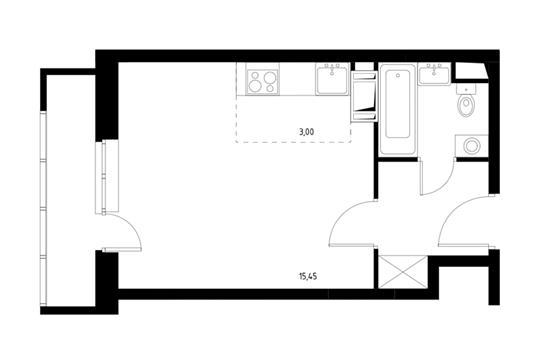 1-комнатная квартира, 27.34 м<sup>2</sup>, 12 этаж
