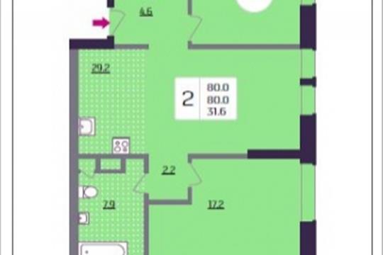 2-комнатная квартира, 80 м<sup>2</sup>, 6 этаж