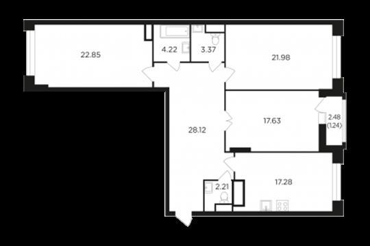 3-комн квартира, 118.57 м2, 4 этаж