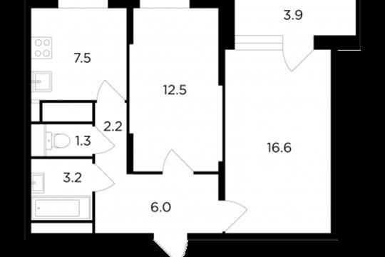 2-комнатная квартира, 51.3 м<sup>2</sup>, 6 этаж