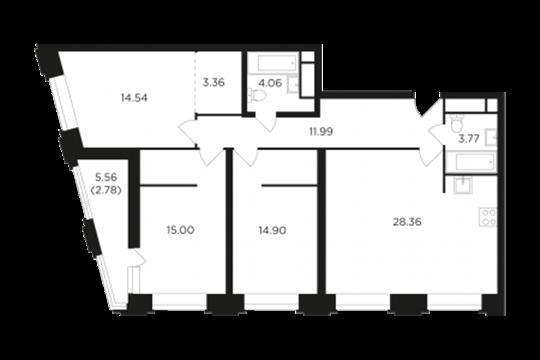 3-комнатная квартира, 98.67 м<sup>2</sup>, 17 этаж