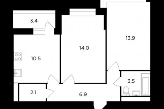 2-комнатная квартира, 52.6 м<sup>2</sup>, 11 этаж