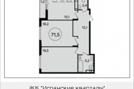 2-комнатная квартира, 71.5 м<sup>2</sup>, 11 этаж