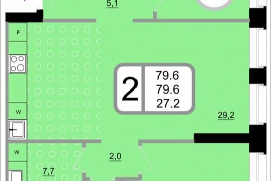 2-комнатная квартира, 79.6 м<sup>2</sup>, 15 этаж