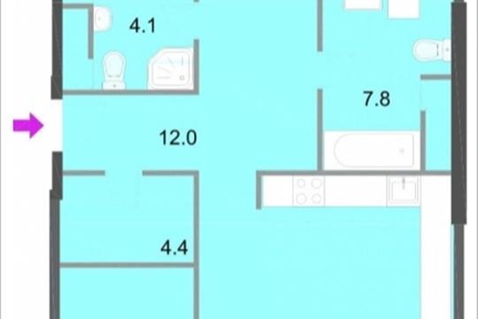 3-комнатная квартира, 112.7 м<sup>2</sup>, 20 этаж