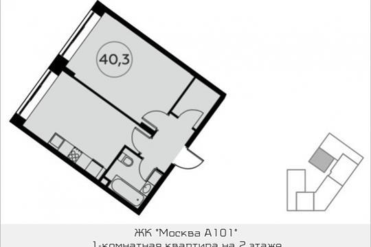1-комнатная квартира, 40.3 м<sup>2</sup>, 2 этаж