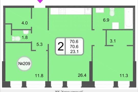 2-комнатная квартира, 70.6 м<sup>2</sup>, 8 этаж