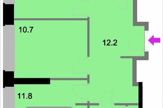 2-комнатная квартира, 55.9 м<sup>2</sup>, 20 этаж