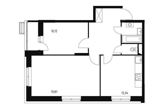 2-комнатная квартира, 56.95 м<sup>2</sup>, 2 этаж