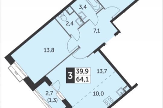 3-комнатная квартира, 64.1 м<sup>2</sup>, 2 этаж