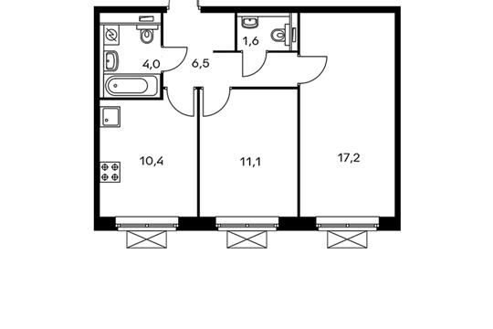 2-комнатная квартира, 50.8 м<sup>2</sup>, 16 этаж