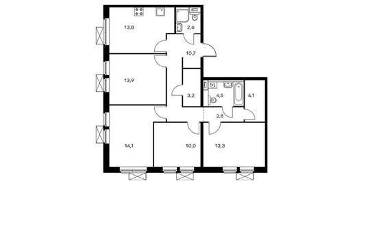 4-комнатная квартира, 93 м<sup>2</sup>, 10 этаж