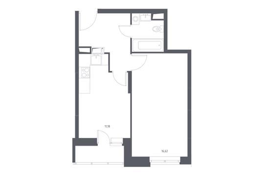 1-комнатная квартира, 38.33 м<sup>2</sup>, 9 этаж