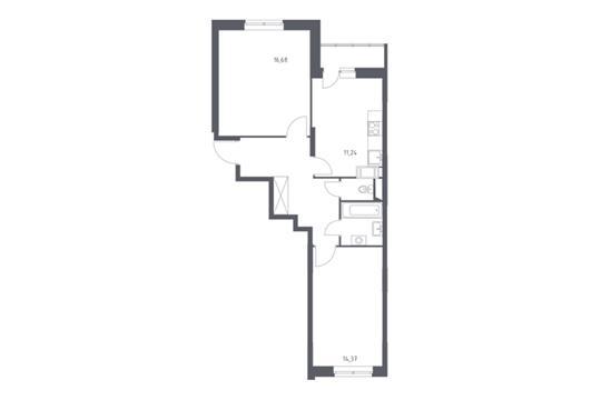 2-комнатная квартира, 58.36 м<sup>2</sup>, 12 этаж