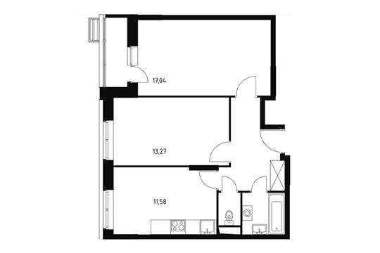 2-комнатная квартира, 54.7 м<sup>2</sup>, 2 этаж