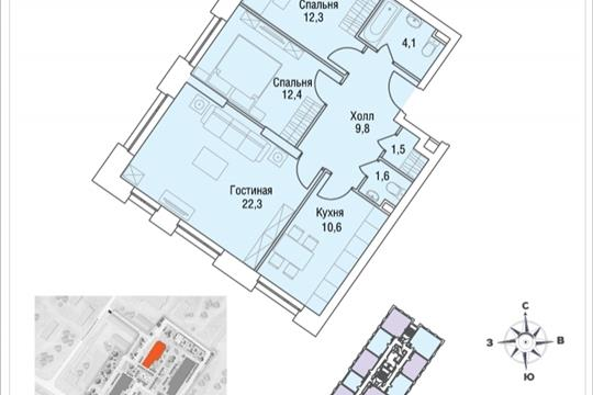 3-комнатная квартира, 75.7 м<sup>2</sup>, 13 этаж