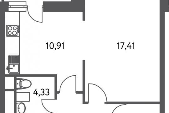 1-комнатная квартира, 42.6 м<sup>2</sup>, 2 этаж