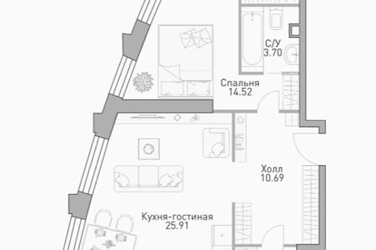 2-комнатная квартира, 61.18 м<sup>2</sup>, 6 этаж