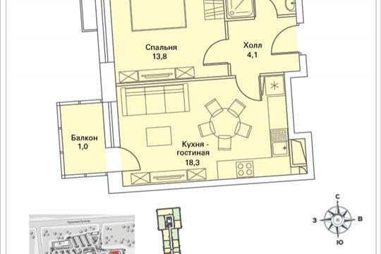 1-комнатная квартира, 40.9 м<sup>2</sup>, 21 этаж