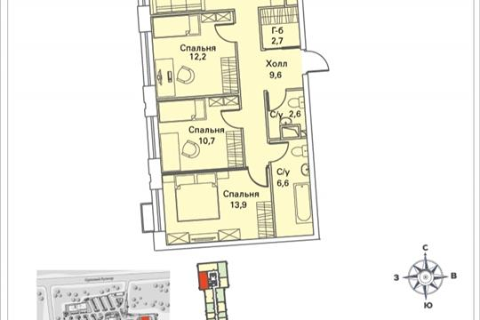 3-комнатная квартира, 77.2 м<sup>2</sup>, 13 этаж
