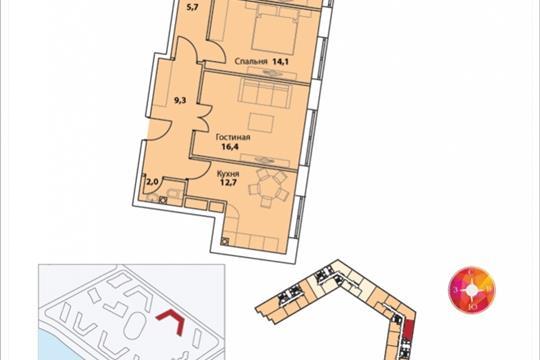 3-комнатная квартира, 80.9 м<sup>2</sup>, 22 этаж