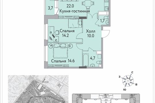 2-комнатная квартира, 71.6 м<sup>2</sup>, 13 этаж