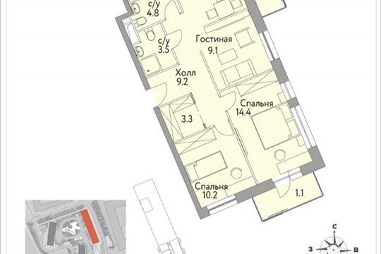 3-комнатная квартира, 66.8 м<sup>2</sup>, 11 этаж