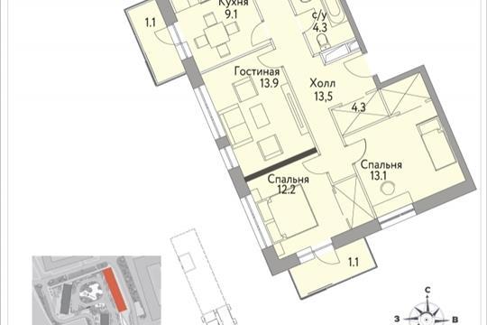 3-комнатная квартира, 76.3 м<sup>2</sup>, 11 этаж
