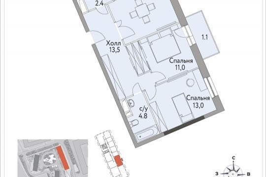 2-комнатная квартира, 64.6 м<sup>2</sup>, 2 этаж