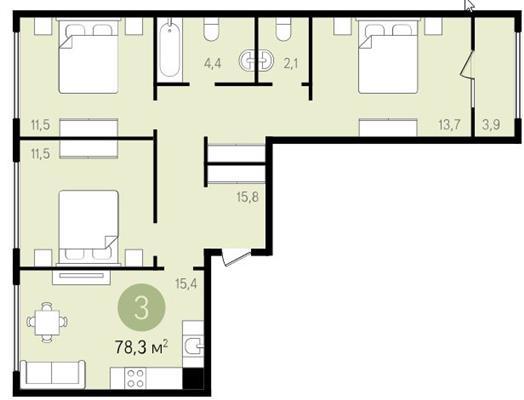 3-комнатная квартира, 78.3 м<sup>2</sup>, 13 этаж_1