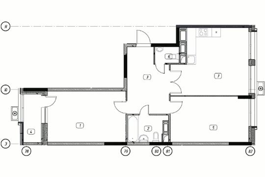 2-комнатная квартира, 75.78 м<sup>2</sup>, 4 этаж