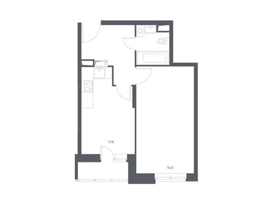 1-комнатная квартира, 38.33 м<sup>2</sup>, 4 этаж_1
