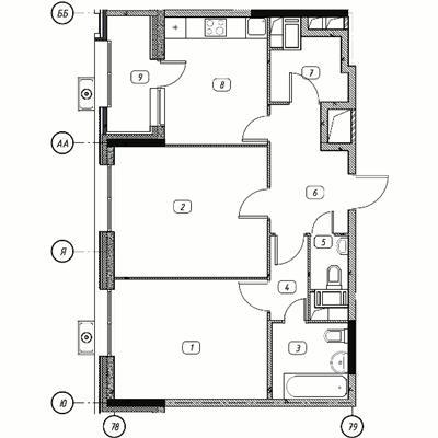 2-комнатная квартира, 62.3 м<sup>2</sup>, 8 этаж_1