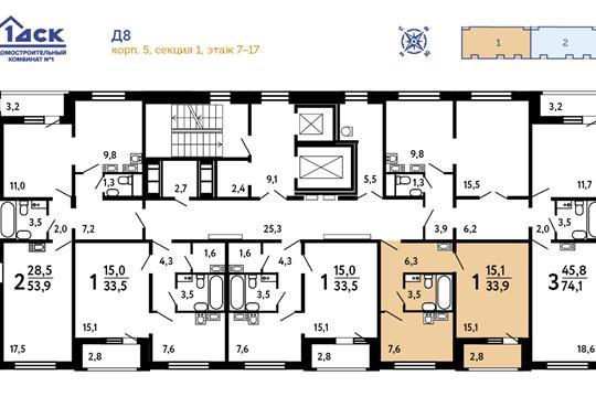1-комн квартира, 32.8 м<sup>2</sup>, 17 этаж_1