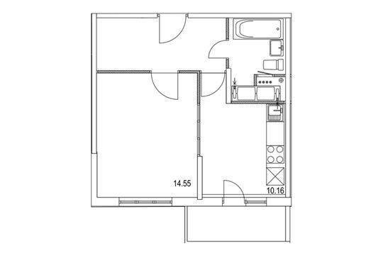 1-комнатная квартира, 37.91 м<sup>2</sup>, 17 этаж