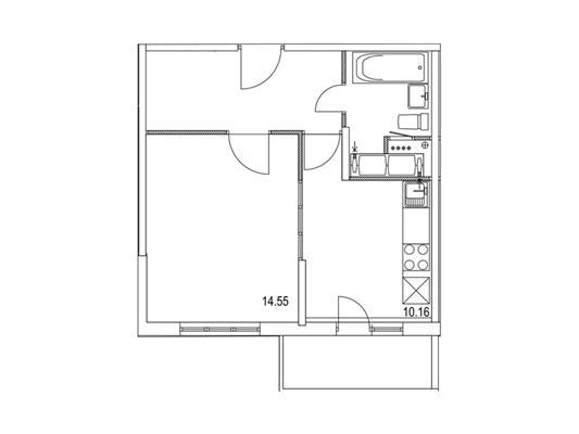 1-комнатная квартира, 37.91 м<sup>2</sup>, 17 этаж_1