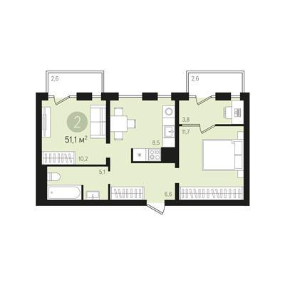 2-комнатная квартира, 51.1 м<sup>2</sup>, 6 этаж_1