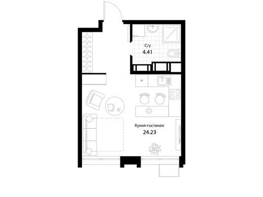 1-комнатная квартира, 28.64 м<sup>2</sup>, 18 этаж_1