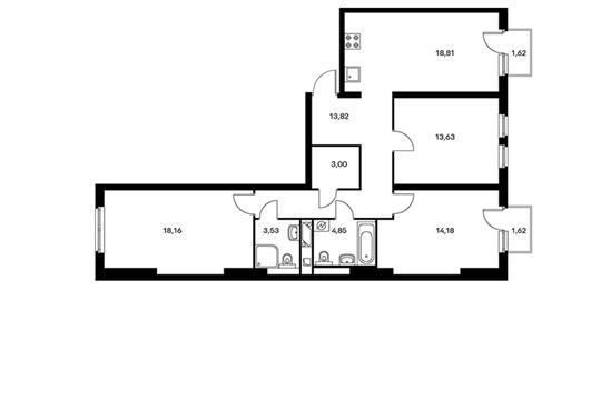 3-комнатная квартира, 90.7 м<sup>2</sup>, 6 этаж
