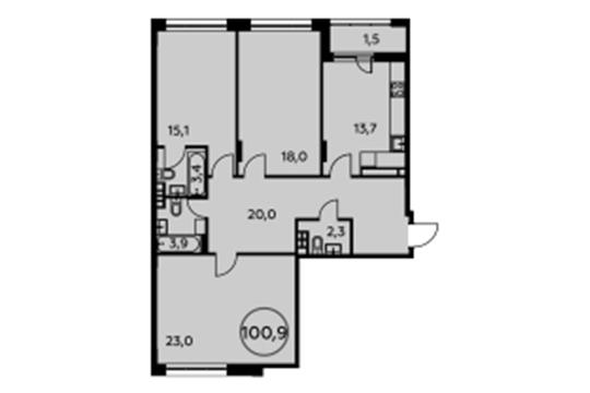 3-комнатная квартира, 100.9 м<sup>2</sup>, 4 этаж_1