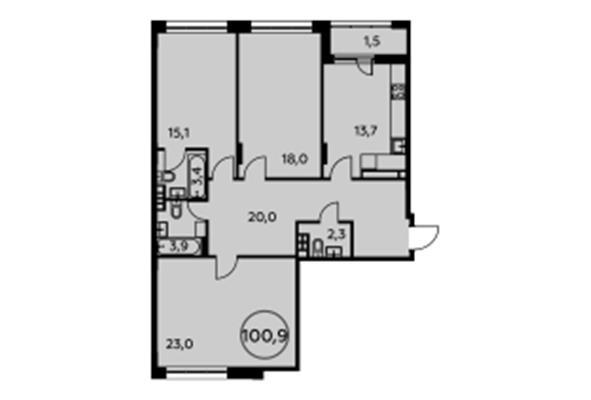 3-комн квартира, 100.9 м2, 4 этаж - фото 1