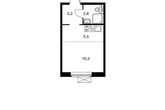 1-комнатная квартира, 21.8 м<sup>2</sup>, 10 этаж